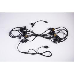 Rundkabel 10M mit 20 Fassung E27, Schwarzes Kabel, Verbindbar max. 1000W, für Außen