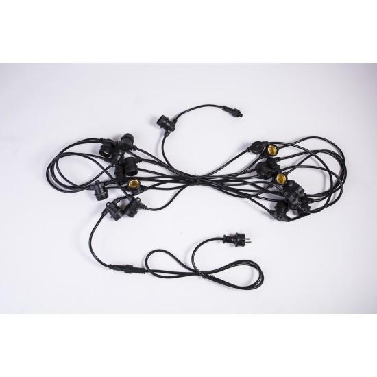Lichterkette 10M mit 20 LED-Lampen, E27, 2.4W, Kunststoff, Schwarzes Kabel, Verbindbar 200M, für Außen
