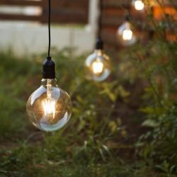 Lichterkette 15M Mit 15 Lampen LEDs E27, G125 4W, Pendellänge 1M, Schwarzes Kabel, Warm Licht, Verbindbar 150M, für Außen