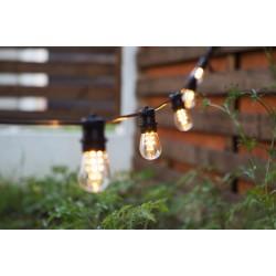 Lichterkette 10M mit 20 Birnen-LEDs, E27 2W, Dimmbar, Schwarz Kabel, Verbindbar 250M, für Außen