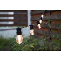 Lichterkette 10M mit 20 Birnen-LEDs E27 2W, Dimmbar, Schwarzes Flachkabel/Rundkabel, Warm Licht, Verbindbar 250M, für Außen