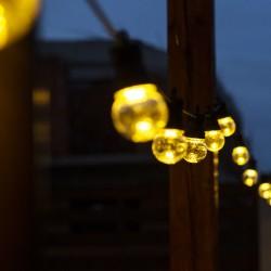 Lichterkette 5M mit 10 Klar Lampen-LEDs, Schwarzes Kabel, Warm Licht, Verbindbar 30M, für Außen