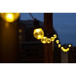 Lichterkette 10M mit Klar 20 Lampen-LEDs, Schwarzes Kabel, Warm Licht, Verbindbar 30M, für Außen