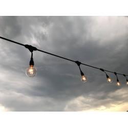 Lichterkette mit Pendel 10M mit 20 + 5 Geschenk Filament Glühlampen E12, Dimmbar, Schwarzes Kabel, Warm Licht, Verbindbar 50M, für Außen