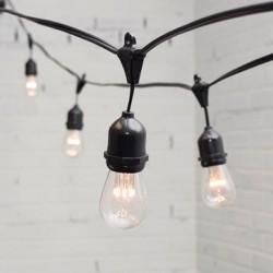 Lichterkette mit Pendel 10M mit 20 Klar Birnen mit 9 LEDs, E27 1W, Dimmbar, Schwarzes Kabel, Warm Licht, Verbindbar 500M, für Außen