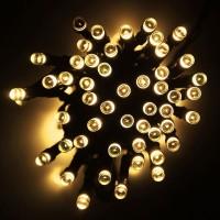 Solar Lichterkette 10M mit 100 LEDs, 2 Programmen, Schwarzes Kabel, Warm Licht, für Außen