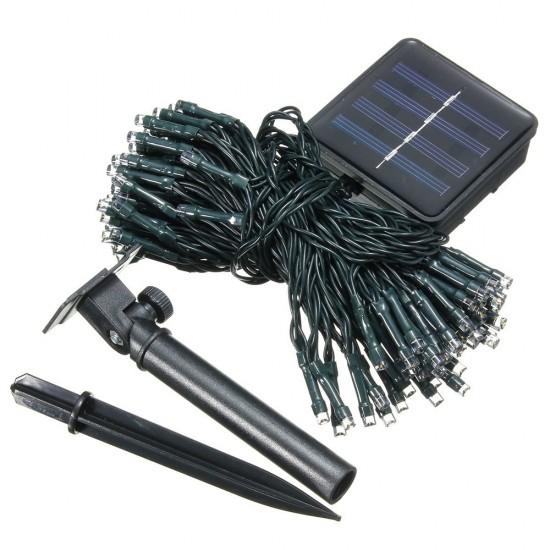 Solar Lichterkette 48M mit 800 LEDs, 8 Programmen, Schwarzes Kabel, Warm Licht, für Außen