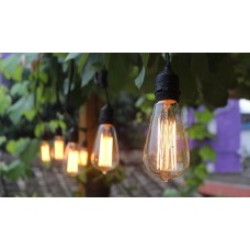 Lichterkette mit Pendel 15M mit 15 Große Filament Glühbirnen, E27 25W, Dimmbar, Schwarzes Kabel, Warm Licht, Verbindbar 60M, für Außen