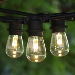 Lichterkette 10M mit 10 LED-Birnen E27 2W, Dimmbar, Schwarzes Flachkabel, Verbindbar, für Außen
