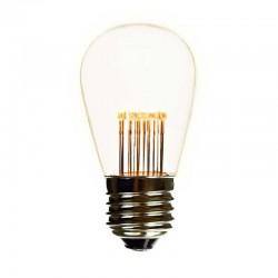 Lichterkette 10M mit Klar 20 Birnen mit 9 LEDs, E27 1W, Dimmbar, Schwarzes Flachkabel/Rundkabel, Warm Licht, Verbindbar 500M, für Außen