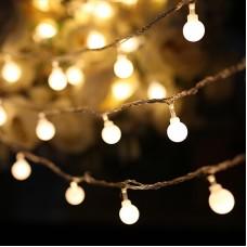 Lichterkette 4M mit 40 Kügelchen-LEDs, Durchsichtig Kabel, Warm Licht, Batteriebetrieb, für Außen