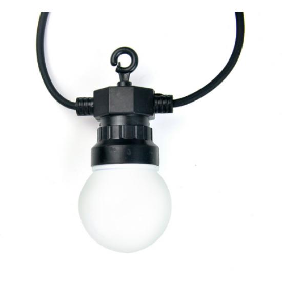 Lichterkette 10M mit 20 Matt Lampen-LEDs, Schwarzes Kabel, Warm Licht, Verbindbar 30M, für Außen