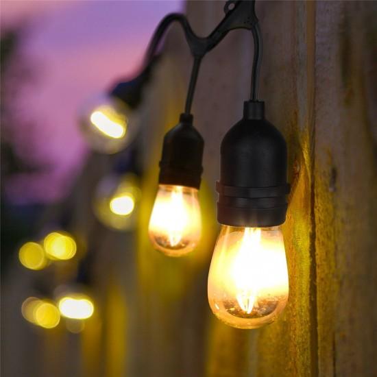 Lichterkette 15M mit Pendel mit 15 Birnen-LEDs, E27 4W, Schwarzes Kabel, Verbindbar 150M, für Außen