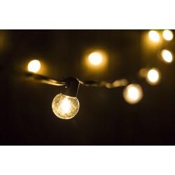 Lichterkette 5M mit 10 Speziellen Lampen-LEDs, Schwarzes Kabel, Warm Licht, Verbindbar 1000M, für Außen