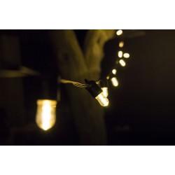 Lichterkette 5M mit 20 Klar Birnen-LEDs E14, Schwarzes Kabel, Warm Licht, Verbindbar 50M, für Außen