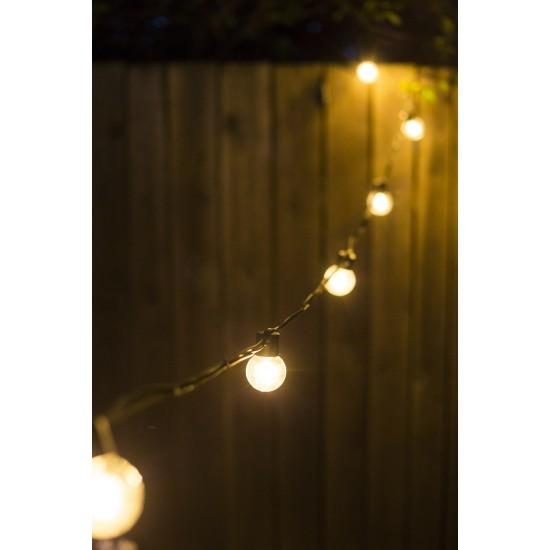 Lichterkette 10M mit 20 LED-Lampen, Schwarzes Kabel, Warm Licht, Verbindbar 1000M, für Außen