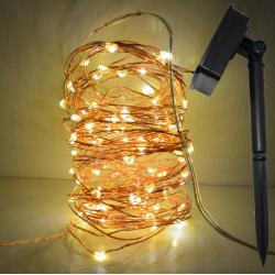 LED Solar Lichterkette 20M mit 200 Mini-LEDs, 8 Programmen, Kupferdraht Solarleuchten, Warm Licht, für Außen
