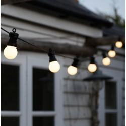 Lichterkette 5M mit 10 Matt Lampen-LEDs, Schwarzes Kabel, Warm Licht, Verbindbar 30M, für Außen