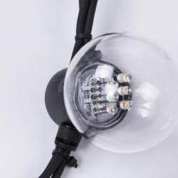 Lichterkette 10M mit 20 Speziellen Lampen-LEDs, Weißes Kabel, Warm Licht, Verbindbar 1000M, für Außen