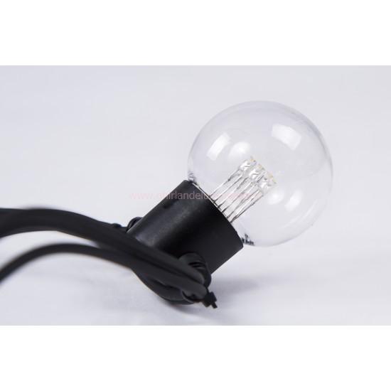 Lichterkette 10M mit 20 Speziellen Lampen-LEDs, Schwarzes Kabel, Warm Licht, Verbindbar 1000M, für Außen