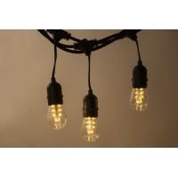 Lichterkette 10M mit 20 Klar Birnen mit 16 LEDs mit Pendel, E27 2W, Dimmbar, Schwarzes Kabel, Warm Licht, Verbindbar 250M, für Außen