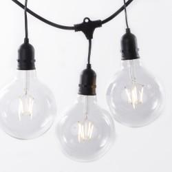 Lichterkette 10M mit Pendel mit 20 Große Lampen LEDs, E27, G125 4W, Schwarzes Kabel, Warm Licht, Verbindbar 250M, für Außen