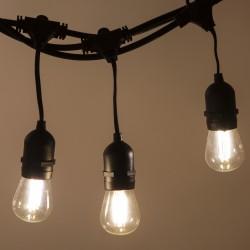 Lichterkette 10M mit Pendel mit 20 Birnen-LEDs, E27 4W, Schwarzes Kabel, Verbindbar 120M, für Außen