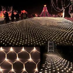 Lichternetz 3M × 2M mit 432 Premium-LEDs, Schwarzes Kabel, Warm Licht, Verbindbar 30M, für Außen