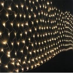 Lichternetz 3M × 2M mit 192 Premium-LEDs, Durchsichtig Kabel, Warm Licht, Verbindbar 15M, für Außen