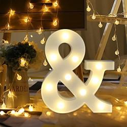 LED Leuchten Et-Zeichen Symbol ''&'', Kunststoff, Warm Licht, mit Batteriebetrieb