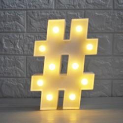 LED Leuchten Doppelkreuz Symbol ''#'', Kunststoff, Warm Licht, mit Batteriebetrieb