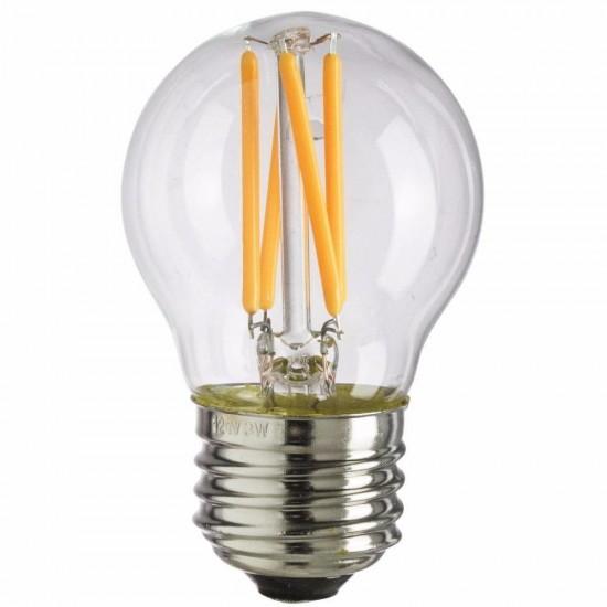 Birne mit 4 LEDs Filament G45, E27 4W, Glas, Dimmbar, Warm Licht, für Außen