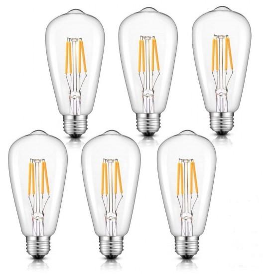 Birne mit 4 LEDs Filament ST64, E27, 4W, Glas, Warm Licht, für Außen