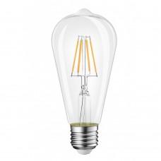 Birne mit 4 LEDs Filament ST64, Glas, E27 4W, 75lm/W, A+, Warm Licht, für Außen