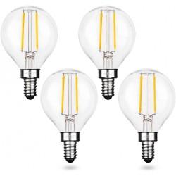 Lampe mit 2 LEDs Filament, E12, 2W, Glas, Warm Licht, für Außen