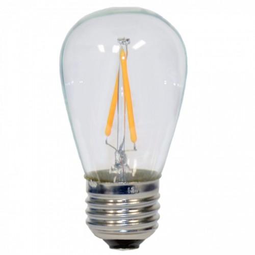 Birne mit 2 LED Filament, S14, Kunststoff, Dimmbar, E27, 2W, 40lm/W, Warm Licht 2200K, für Außen