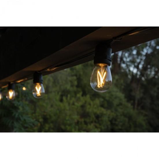 Birne mit 2 LED Filament S14, E27, 2W, Kunststoff, Dimmbar, Warm Licht, für Außen
