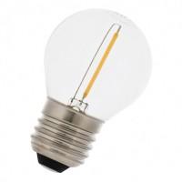 LED Lampe Filament, G45, Kunststoff, Dimmbar, E27, 1W, 75lm/W, Warm Licht, für Außen