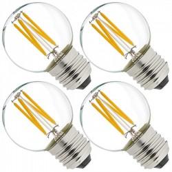 Birne mit 4 LEDs Filament G45, E27, 6W, Kunststoff, Dimmbar, Warm Licht, für Außen