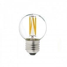 Birne mit 4 LED Filament, G45, Kunststoff, Dimmbar, E27, 6W, 90lm/W, Warm Licht, für Außen