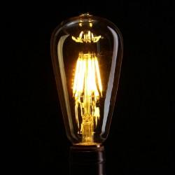 Birne mit 6 LED Filament ST64, E27, 6W, Glas, Dimmbar, Warm Licht, für Außen