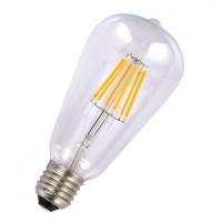 Birne mit 6 LEDs Filament ST64, Glas, E27, 6W, 75lm/W, A+, Warm Licht 2800K, für Außen