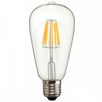 Birne mit 8 LEDs Filament ST64, Glas, E27, 8W, 75lm/W, A+, Warm Licht 2800K, für Außen