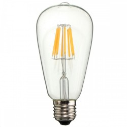 Birne mit 8 LED Filament ST64, E27, 8W, Glas, Warm Licht, für Außen