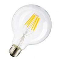 Große Lampe mit 6 LEDs Filament G95, Glas, E27, 6W, 50lm/W, Warm Licht 2800K, für Außen