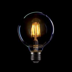 Große Lampe mit 8 LED Filament G95, E27, 8W, Glas, Warm Licht, für Außen