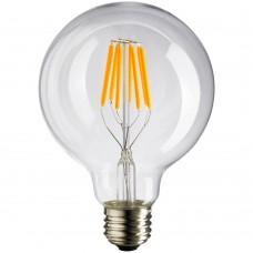 Große Lampe mit 8 LEDs Filament G95, Glas, E27, 8W, 50lm/W, Warm Licht 2800K, für Außen