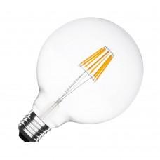 Große Lampe mit 6 LEDs Filament G125, Glas, E27, 8W, A+, 50lm/W, Warm Licht 2800K, für Außen