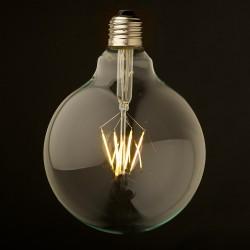 Große Lampe mit 6 LED Filament G125, E27, 6W, Glas, Warm Licht, für Außen