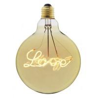 LED Lampe G125 mit Dekorative Filament LOVE, Dimmbar, Glas, E27, 4W, Warm Licht, für Außen
